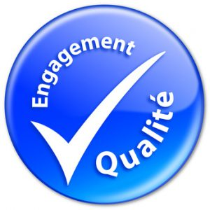 """Tampon """"Engagement Qualité"""" (bleu)"""